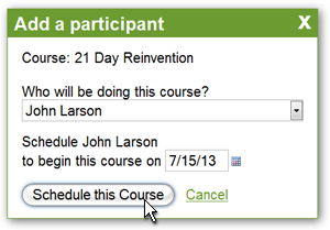 Add a participant to your course with just a few clicks.